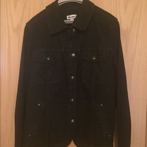 NWOT Denim & Co Black Jean Jacket XL